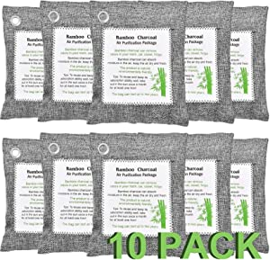 Elloevn 10 Pack Bamboo Charcoal Air Purifying Bag, Eco-Friendly Air Fresheners Charcoal Bags Odor Absorber, Powerful Activated Charcoal Bags Odor Eliminator for Home Pet Closet Car (10x200g)