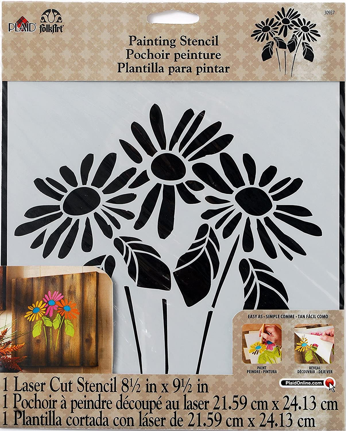 Amazon.com: FolkArt Large Painting Stencil, 30593 Fleur Motif: Arts, Crafts & Sewing