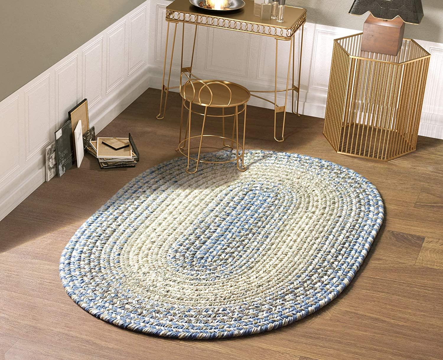 Super Area Rugs Ridgewood Indoor Outdoor Kitchen Braided Rug Blue/Beige RI96, 4