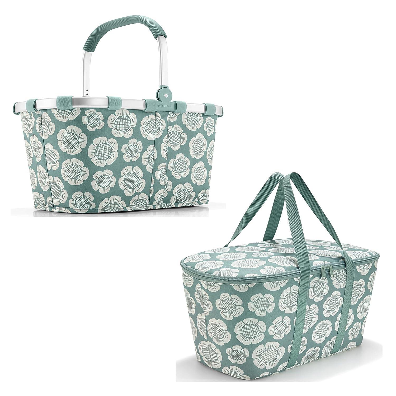 Schönes reisenthel Einkaufsset 2tlg. Bestehend aus reisenthel carrybag/Einkaufskorb und reisenthel coolerbag/Kühltasche in Dem Trendigen Dekoren (Bloomy)