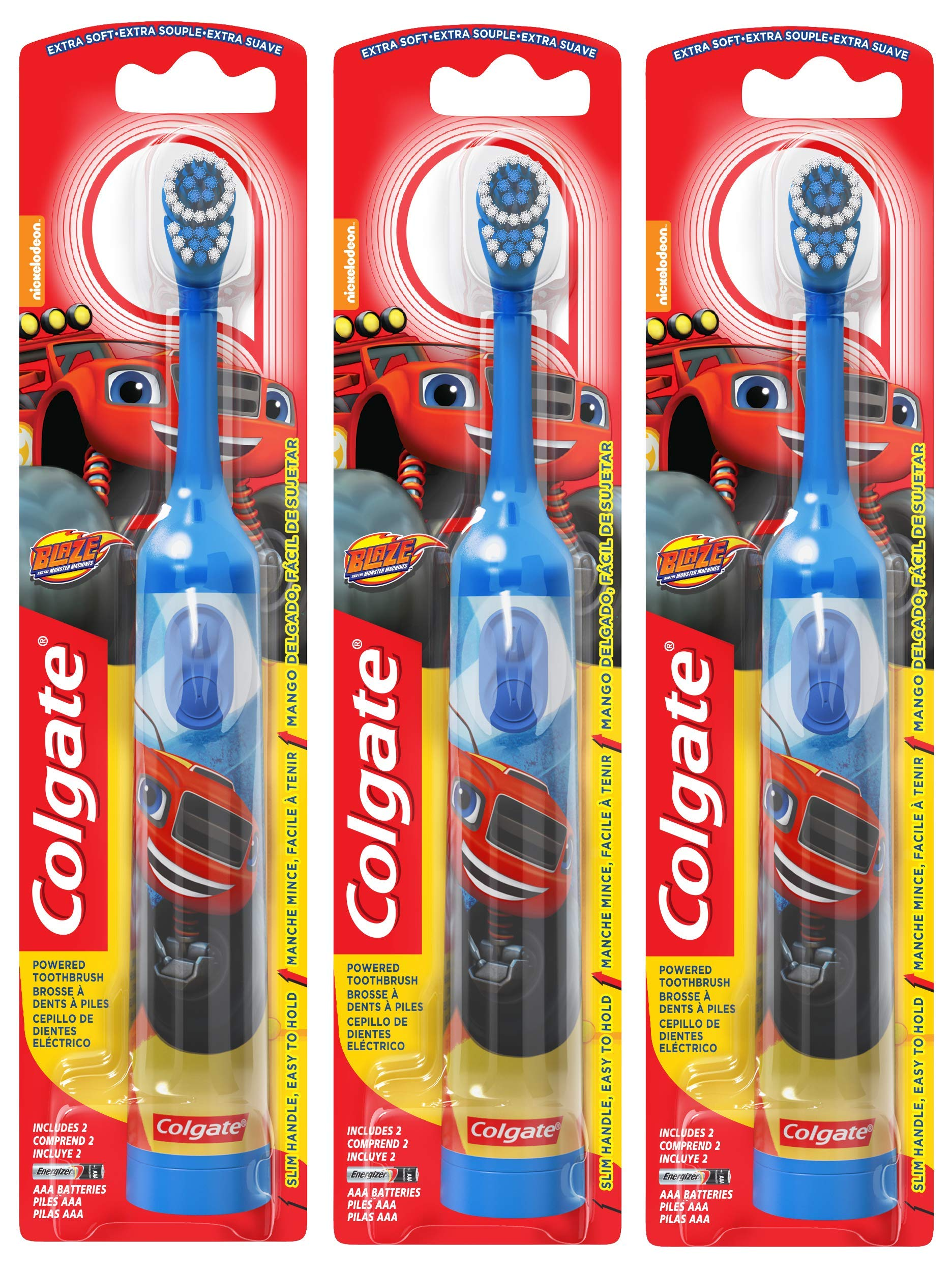 Colgate Kids Powered Toothbrush, Blaze and the Monster Machines, Colors Vary (3 Pack)