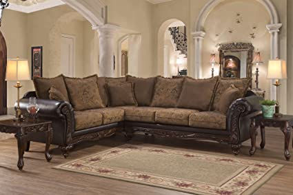 Amazon.com: San Mar Traditional Style Classic Wooden Frame Sectional ...