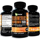 BE HERBAL Premium Organic Turmeric Curcumin with Bioperine 1500mg - The Most Potent Turmeric Curcumin Supplement with 95% Standardized Curcuminoids - Enhanced with Ginger Extract - 120 Veg Capsules