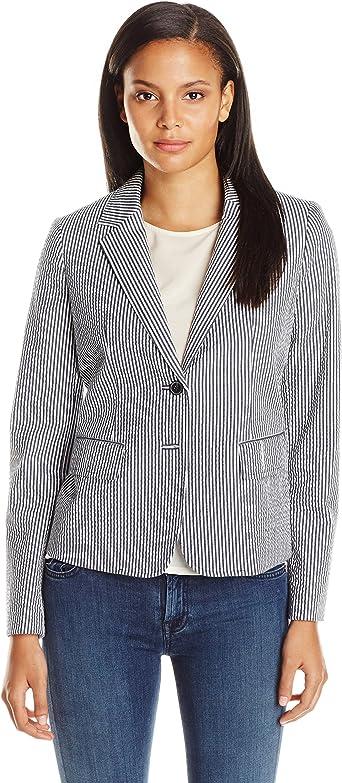 Anne Klein Women S Seersucker Stripe 2 Button Jacket At Amazon