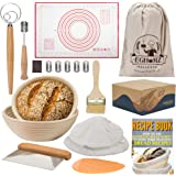 EGHOMZ Banneton Bread Proofing Basket Set Of 2 Round 9 & 10 inch Sourdough Bread Proofing Baskets With 2 Dough Scrapers, Dani