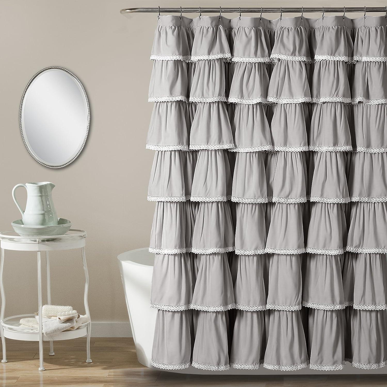 """Lush Decor Lace Ruffle Shower Curtain, 72"""" x 72"""", Gray"""