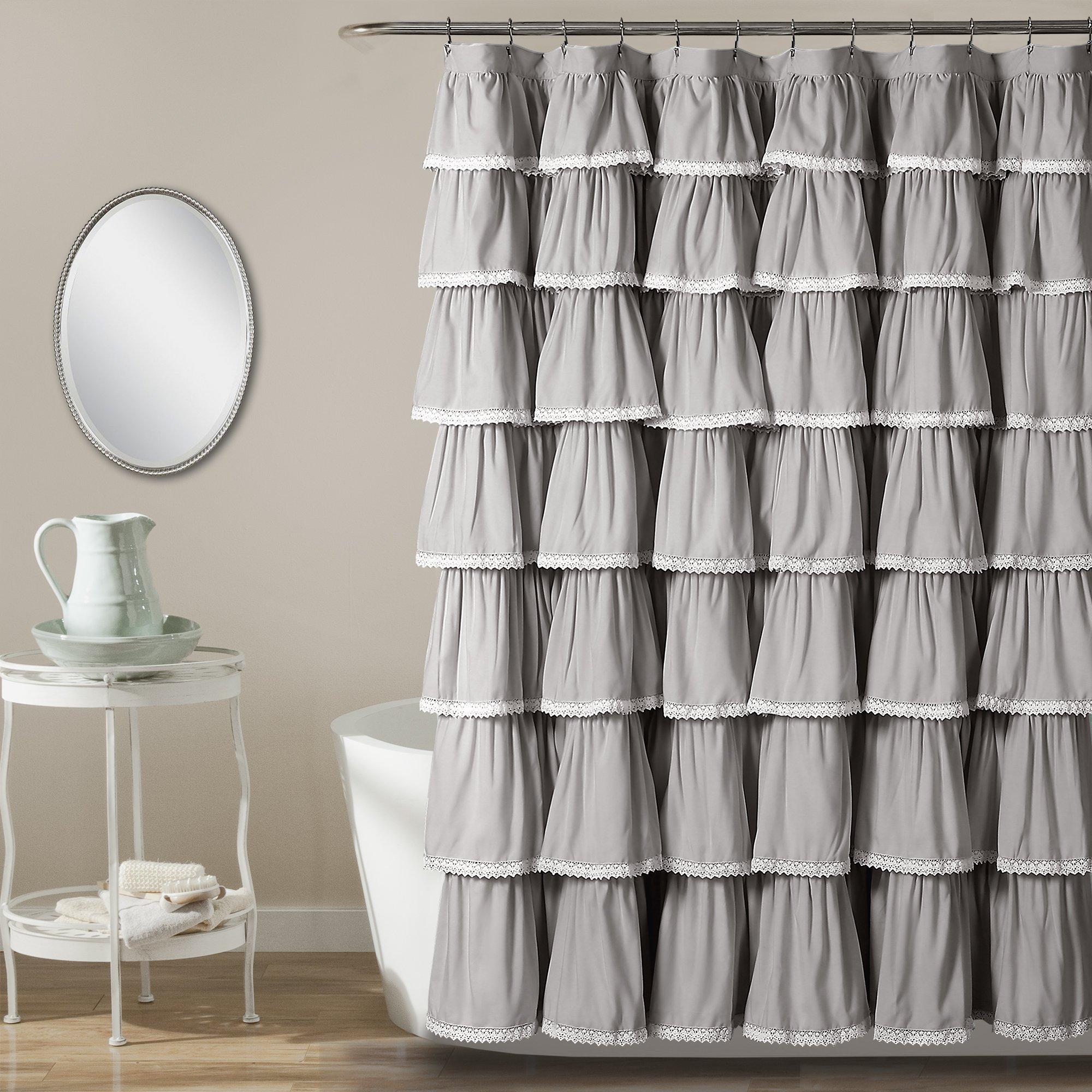 Lush Decor Lace Ruffle Shower Curtain, 72'' x 72'', Gray