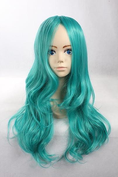 Cosplay peluca verde peluca verde largo rizado peluca Sailor Neptune Sailor Moon Pelucas