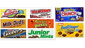 Movie Theater Candy Bundle (Pack of 8) includes Milk Duds, 5 oz + Whoppers, 5 oz + Junior Mints, 4 oz + Goobers + Reese's Pieces + Raisinets + Nestle Buncha + Nestle Butterfinger Bites