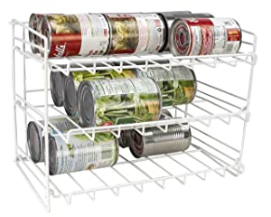 Home Basics Can Rack Organizer Food Storage Canned Food Soda Can Dispenser for Cabinet or Refrigerator White