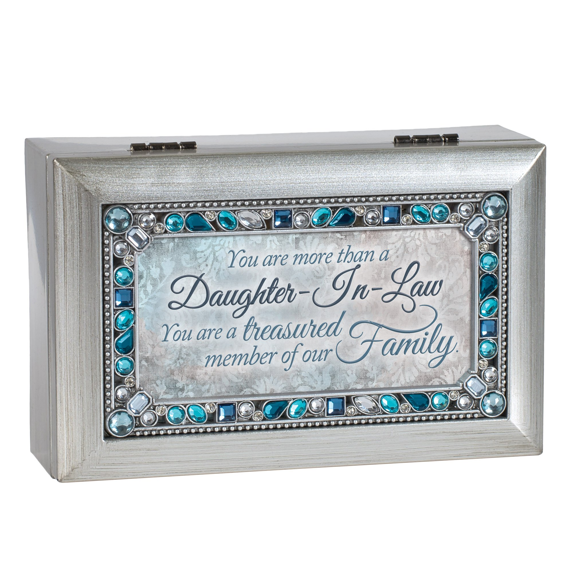 Cottage Garden Daughter in Law Silver Tone Jewel Beaded Petite Music Box Plays Wind Beneath My Wings by Cottage Garden