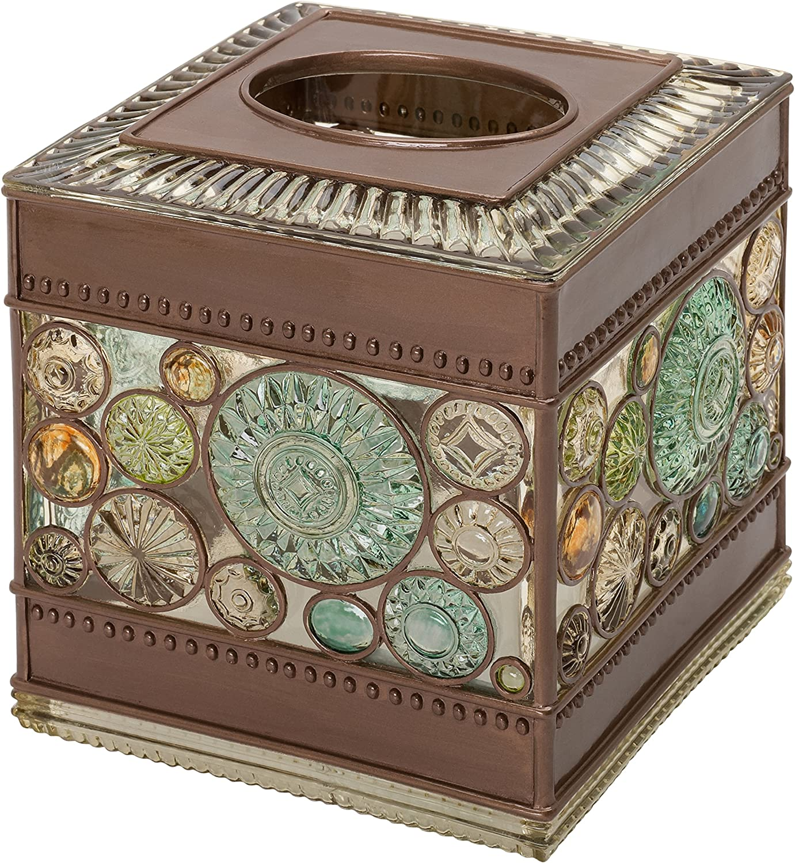 Zenna Home Boddington, Bronze Finish with Glass-Like Resin Bathroom Accessory Tissue Box Cover