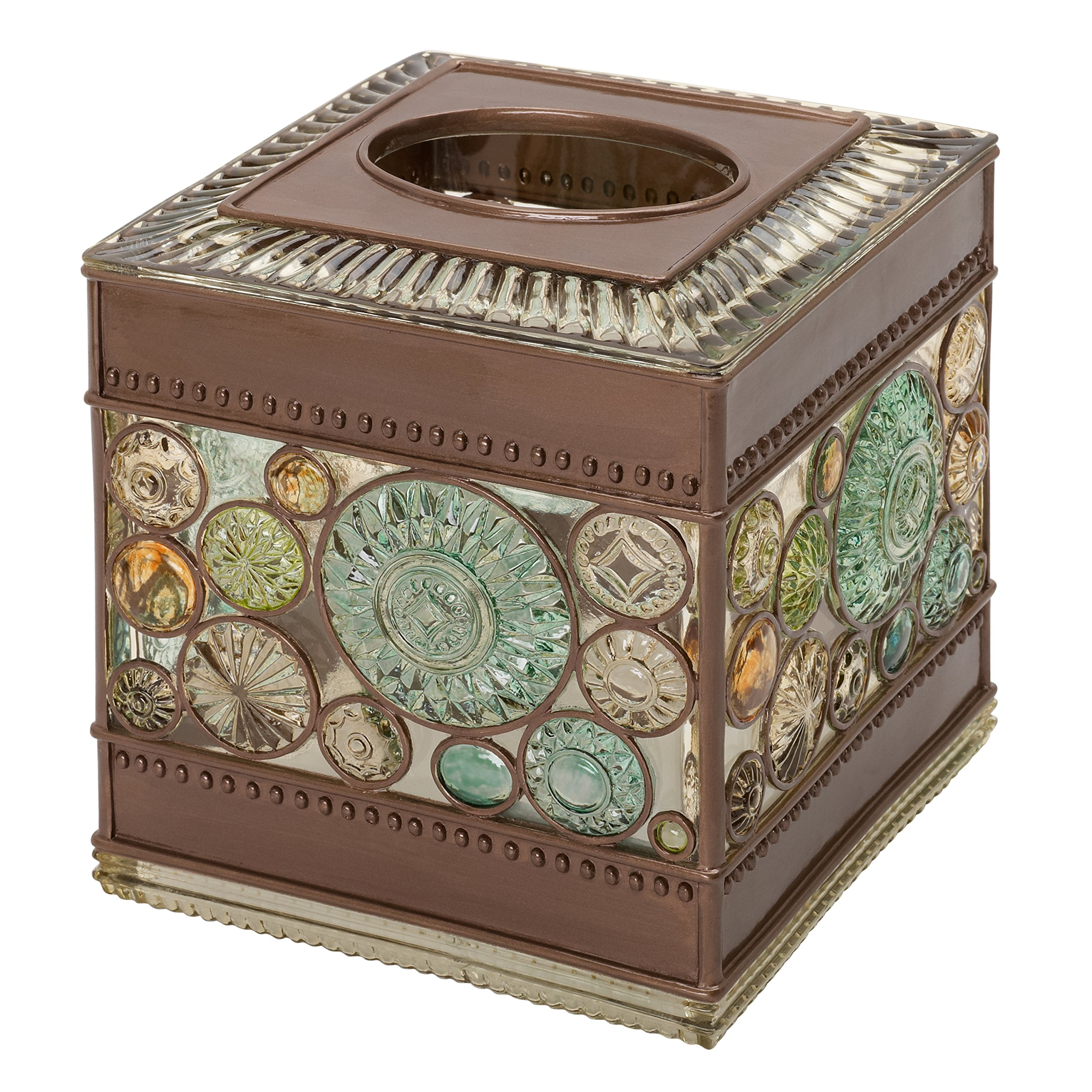 Zenna Home, India Ink Boddington Tissue Box Cover, Bronze with Translucent Colors