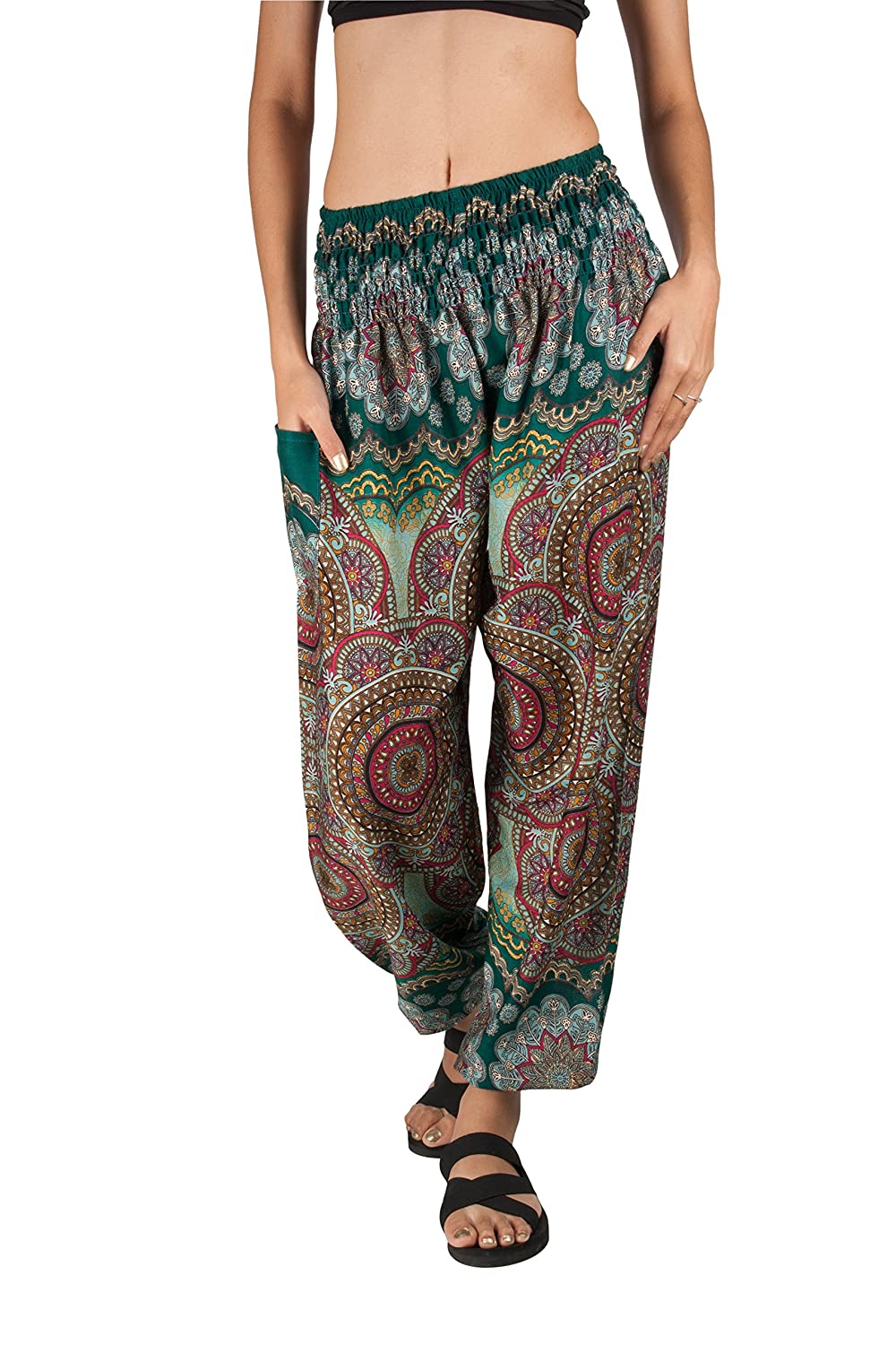 77c85c3300e63 Joop Joop Bohemian Elephant Harem Loose Yoga Travel Lounge Festival Casual  Beach Pants at Amazon Women's Clothing store: