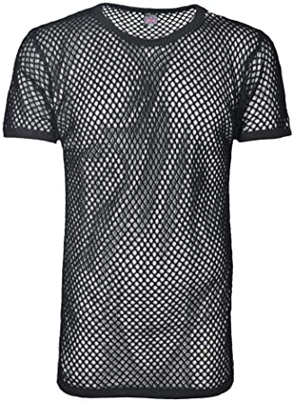 329005dc String Tshirts for Men Womens Fishnet Club wear 100% Cotton Mesh Short  Sleeve T-Shirt: Amazon.co.uk: Clothing