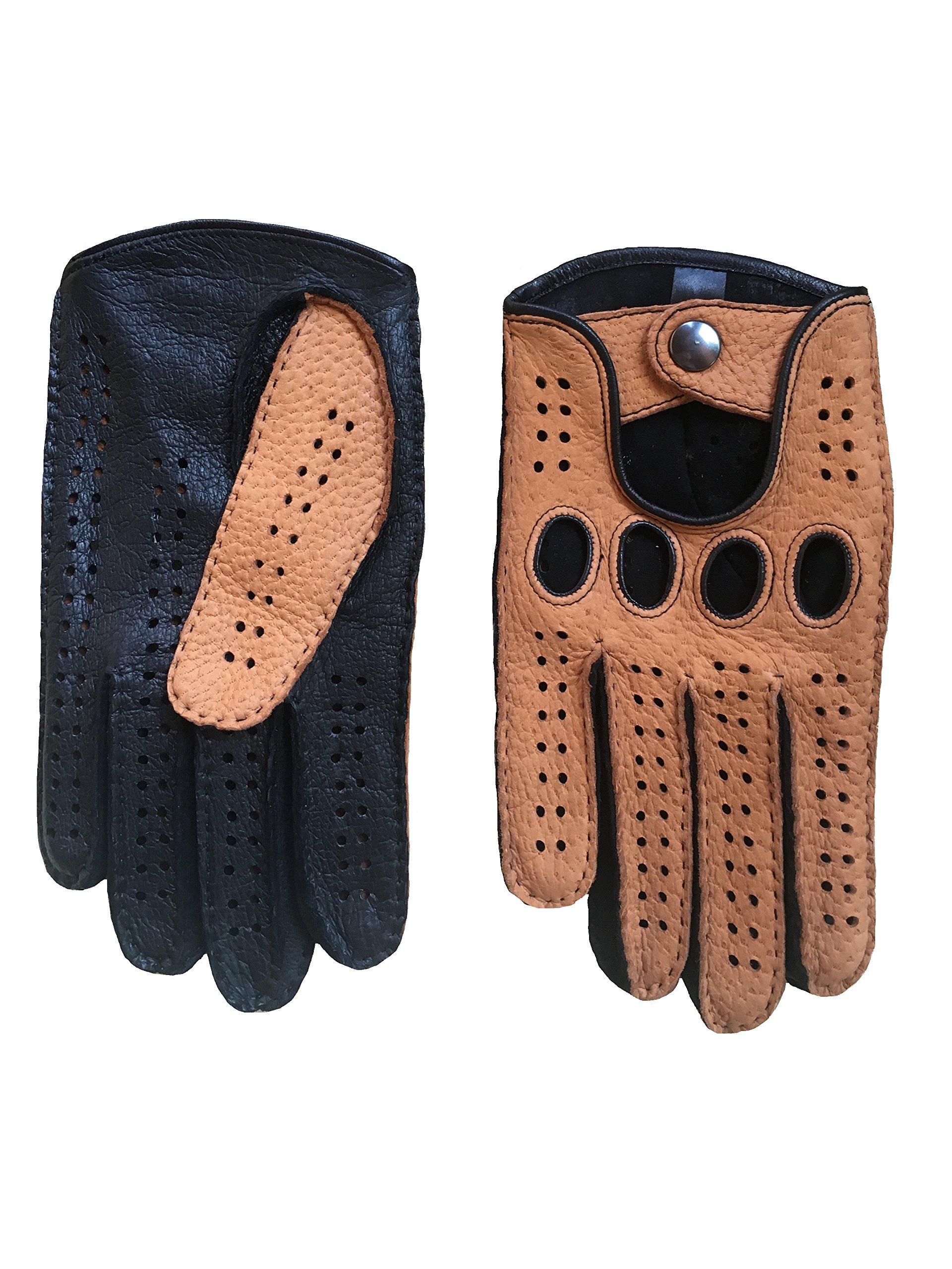 Men's Peccary Driving Gloves Color Black Cork by Hungant (8, Cork)