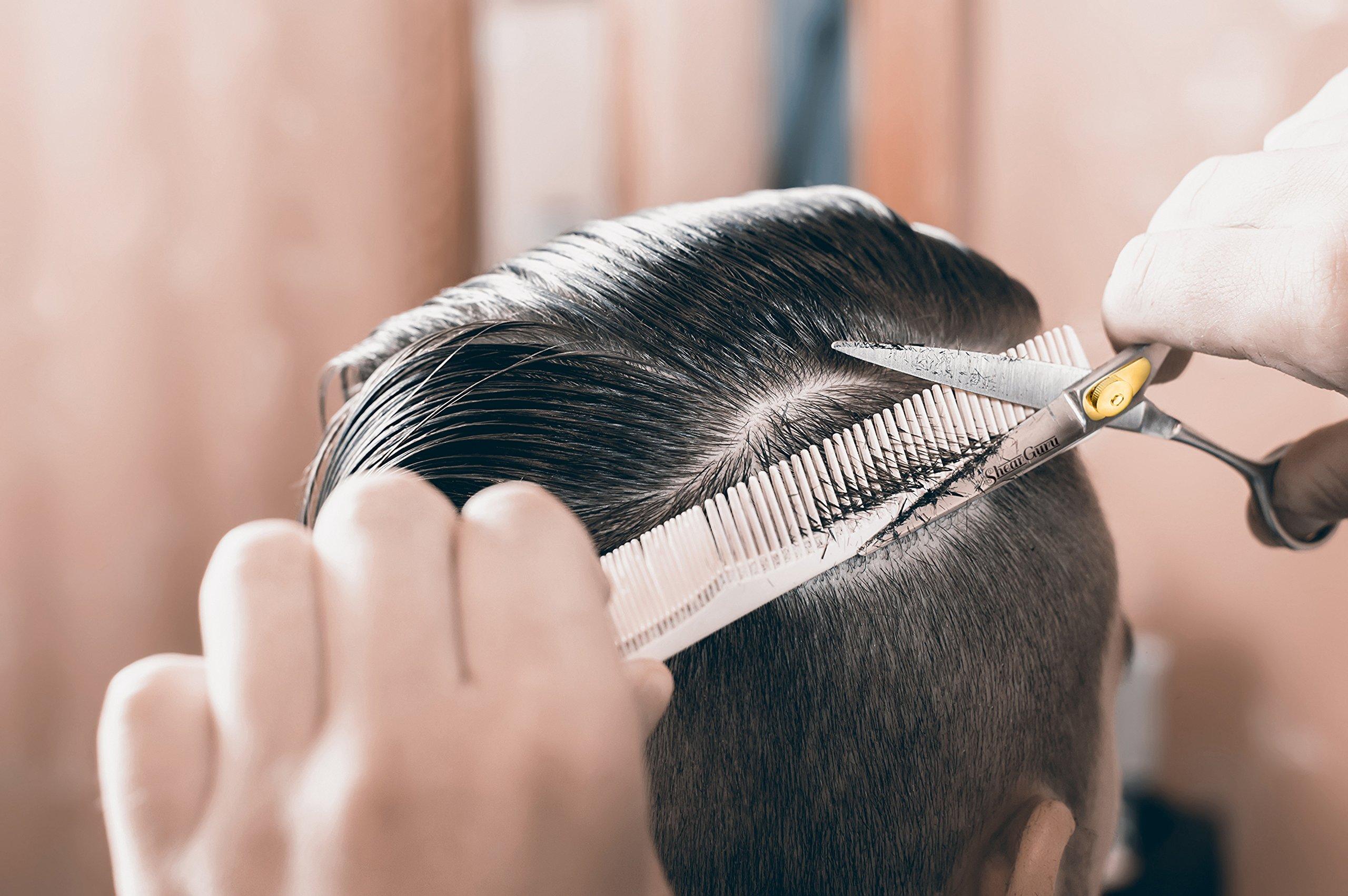 Professional Barber Scissor Hair Cutting Set - 6.5'' - 1 Straight Edge Hair Scissor, 1 Texturizing Thinning Shears, Plus Bonus Faux Leather Case - By ShearGuru … by ShearGuru (Image #6)