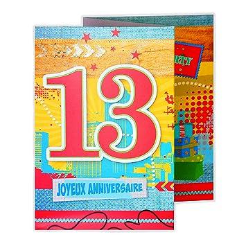 Afie 882114 Carte 3 Volets Joyeux Anniversaire 13 Ans Amazon Fr