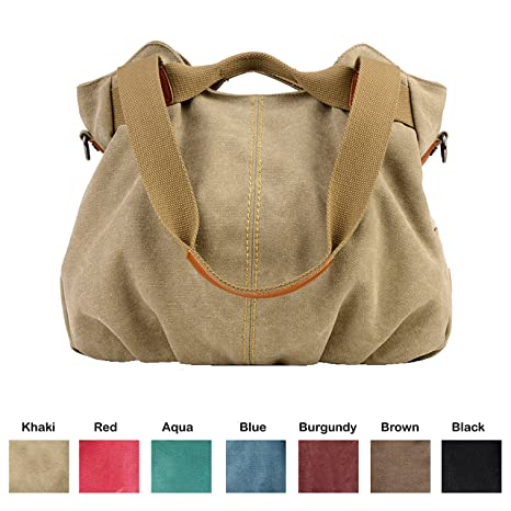 613decabf835 Queenie - 1 Pc Women's Medium Size Casual Cotton Canvas Tote Bag Shopping  Bag Lady Handbag Shoulder Bag Beach Bag (Model K-825 Color : Khaki)