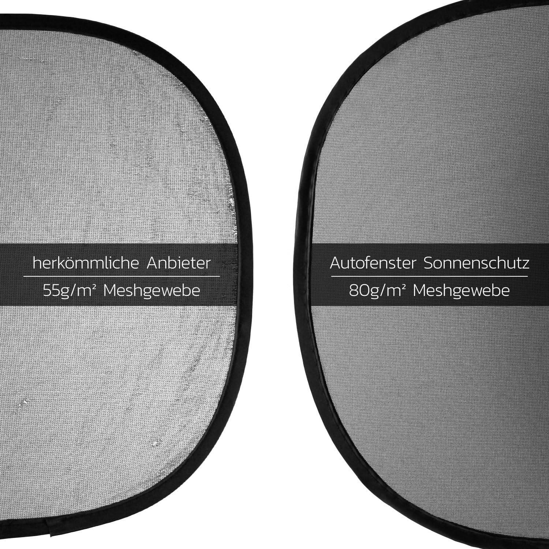 Car Sun Shade inkl SMARTCAR ADDS Sonnenschutz Auto Baby mit UV Schutz 6 Saugn/äpfen /& Transporttasche Sonnenblende Auto in neutralem schwarz