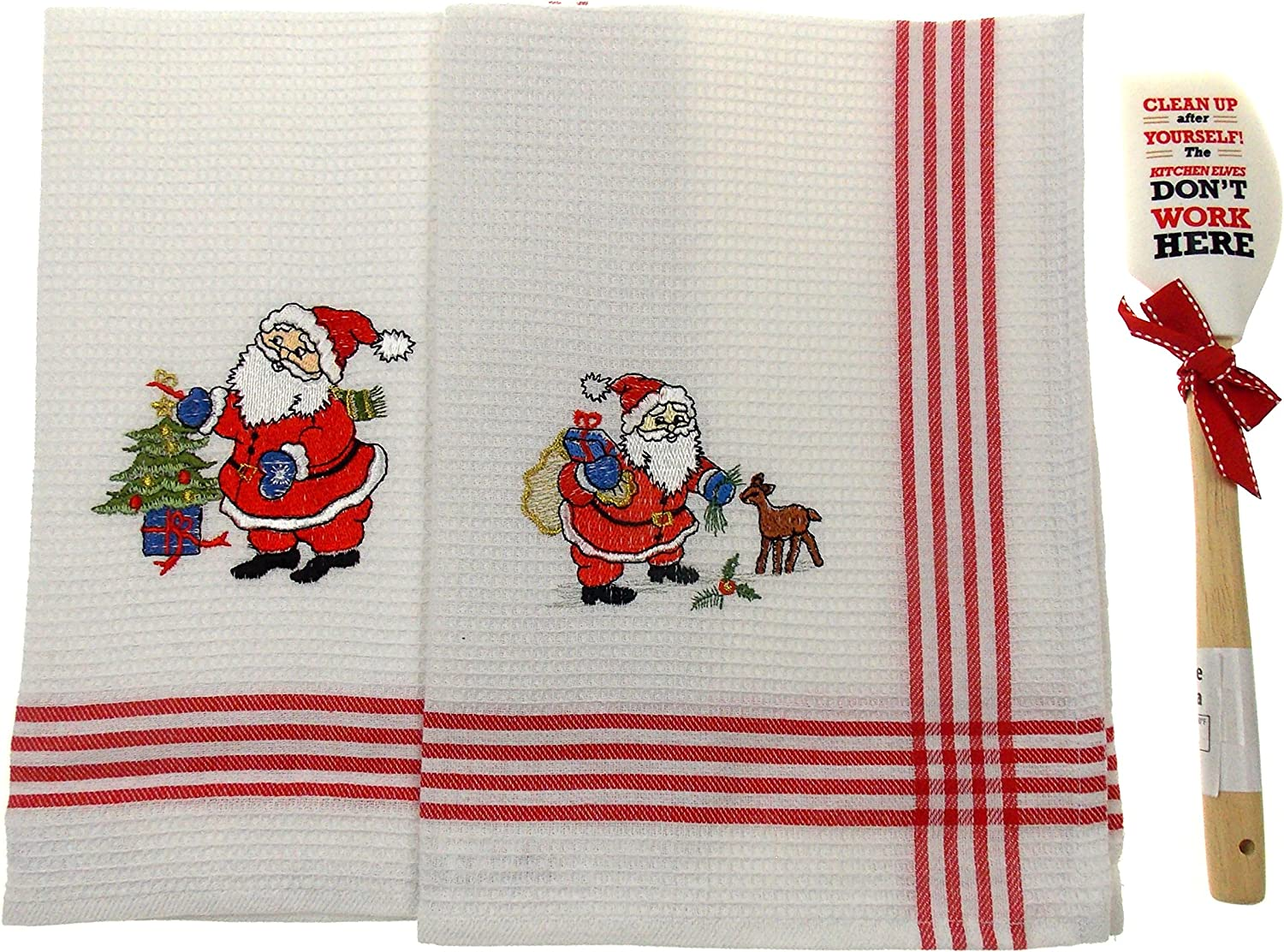 Hickoryville Santa Kitchen Dish Towels Bundled with Brownlow Spatula Clean up After Yourself The Kitchen Elves Dont Work here.