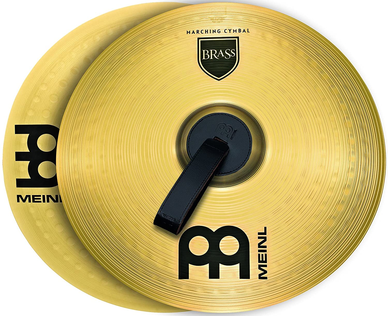 Meinl Cymbals MA-BR-16M Messing-Marschbecken im Paar inklusive Lederriemen und Pads 40, 64 cm (16 Zoll)