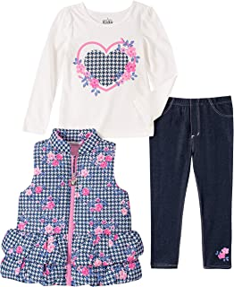 Bow At Waist Kids Headquarters Baby Girls 3 Pieces Puffer Vest Set