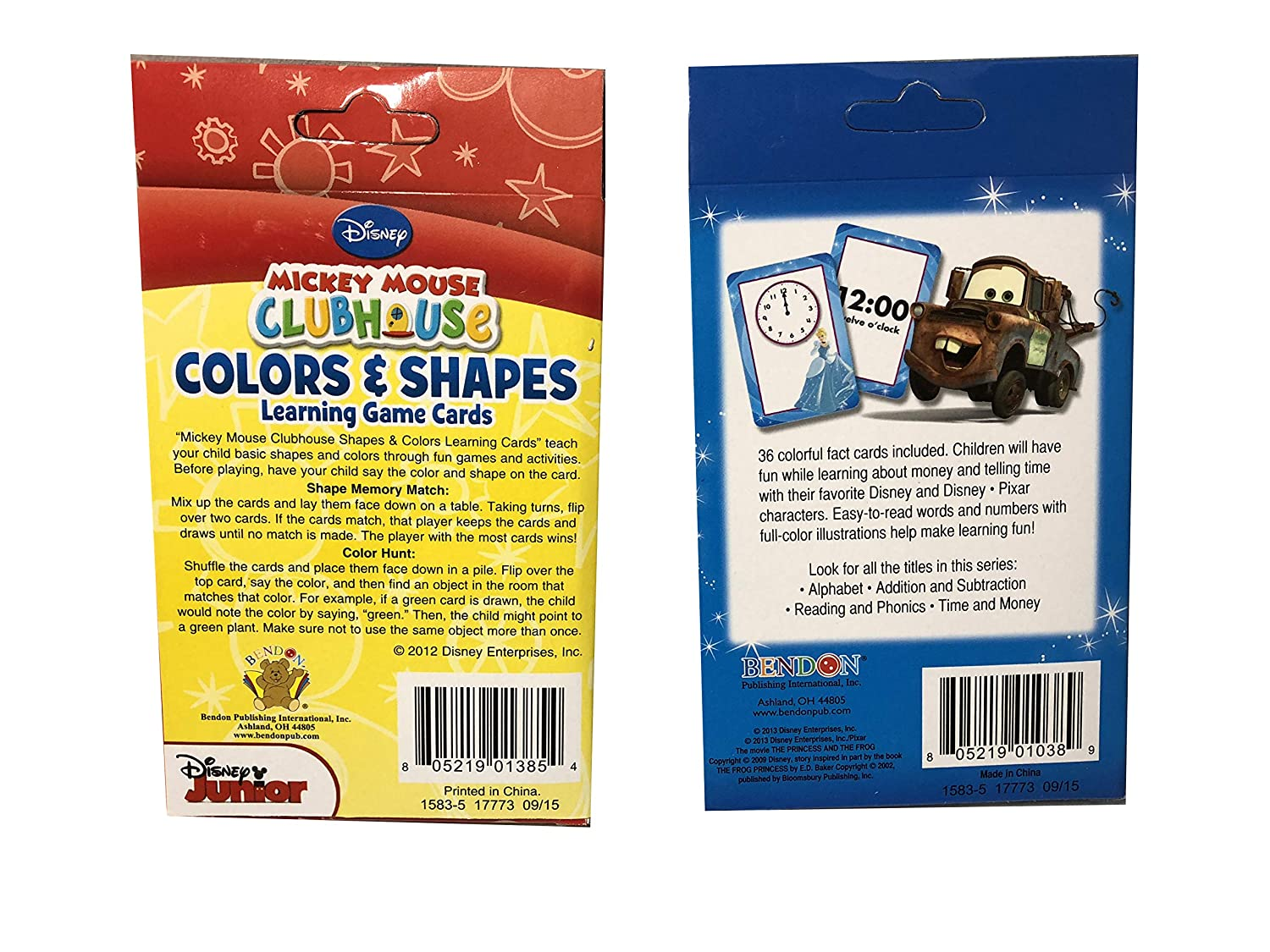 Time /& Money Color /& Shapes Mickey and Toy Story Seasons Merchandise Set of 2 Flash Card Box for Early Learning