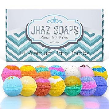 c1884d8104b9c 14 Bath Bombs by Jhaz Soaps: Bubble Bath, Lush Bath Experience, Bath Bombs  for Kids, Non...