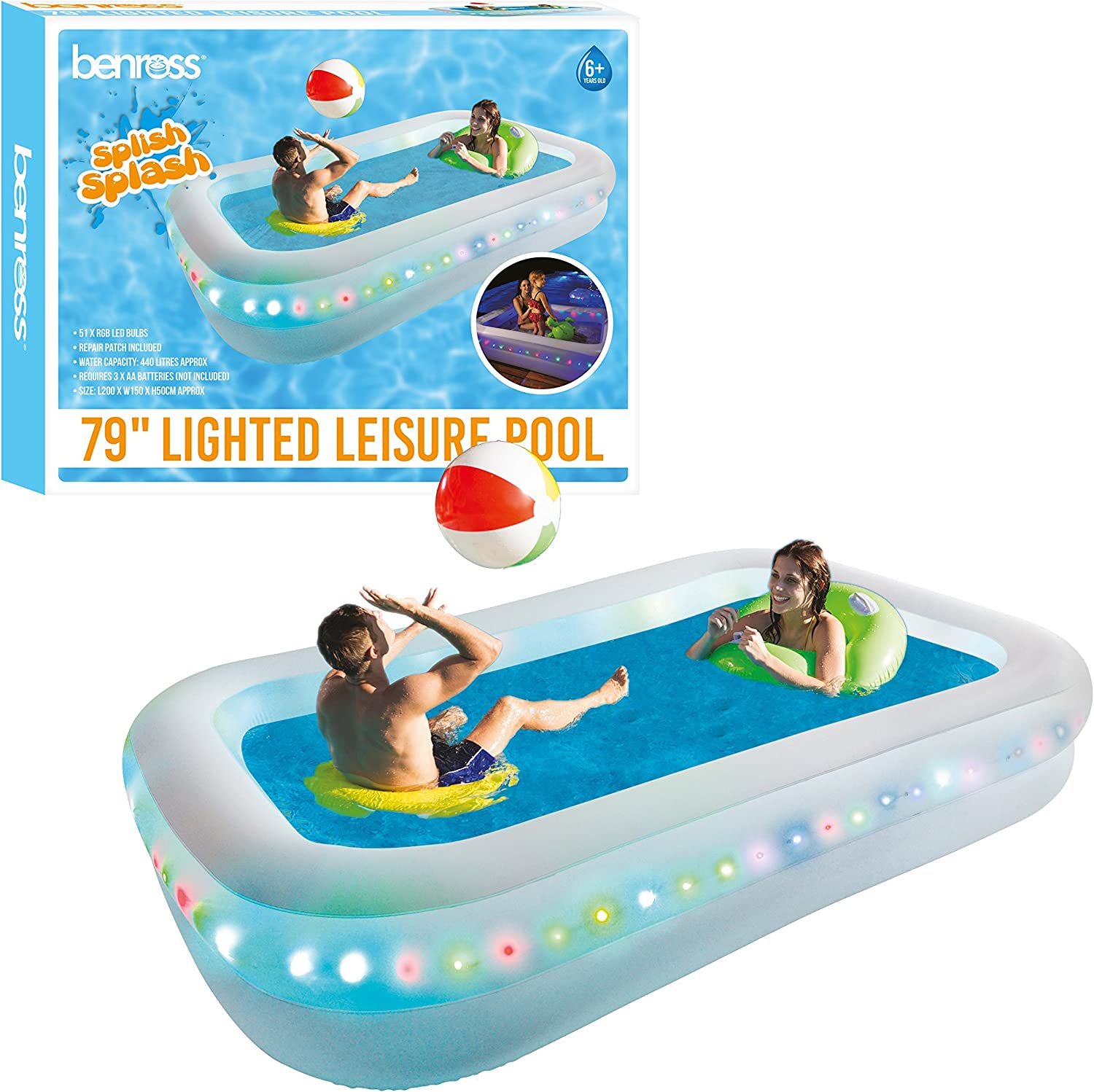Benross 84520 - Piscina Hinchable con luz LED, Funciona con Pilas, Transparente: Amazon.es: Jardín