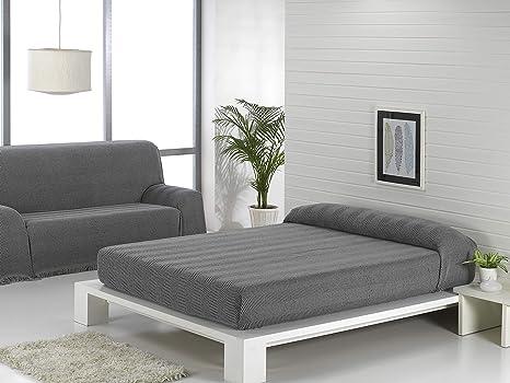 Regalitostv (180 Gris/Oscuro) SEDELLA* Colcha Multiusos Foulard Plaid Liso para Cama o sofá Garantizada Fabricado EN ESPAÑA (180_x_260_cm, ...