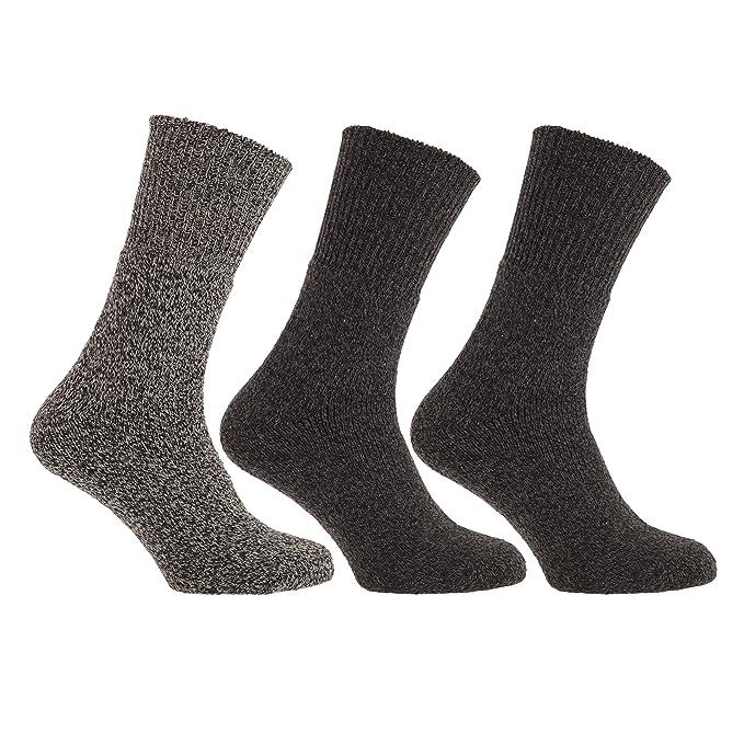 Calcetines térmico sin elásticos Mezcla de Lana (2.1 TOG) (paquete de 3) (39-45 EU/Negro): Amazon.es: Ropa y accesorios