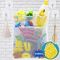 Wemk Cuarto de baño de almacenamiento de juguete de almacenamiento de red Bolsa de juguete con 4 ganchos autoadhesivos