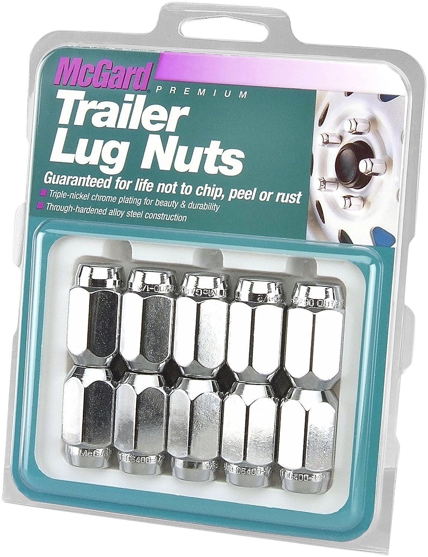 McGard 74043 Chrome Cone Seat Style Trailer Lug Nut Set 1//2-20 Thread Size Set of 10