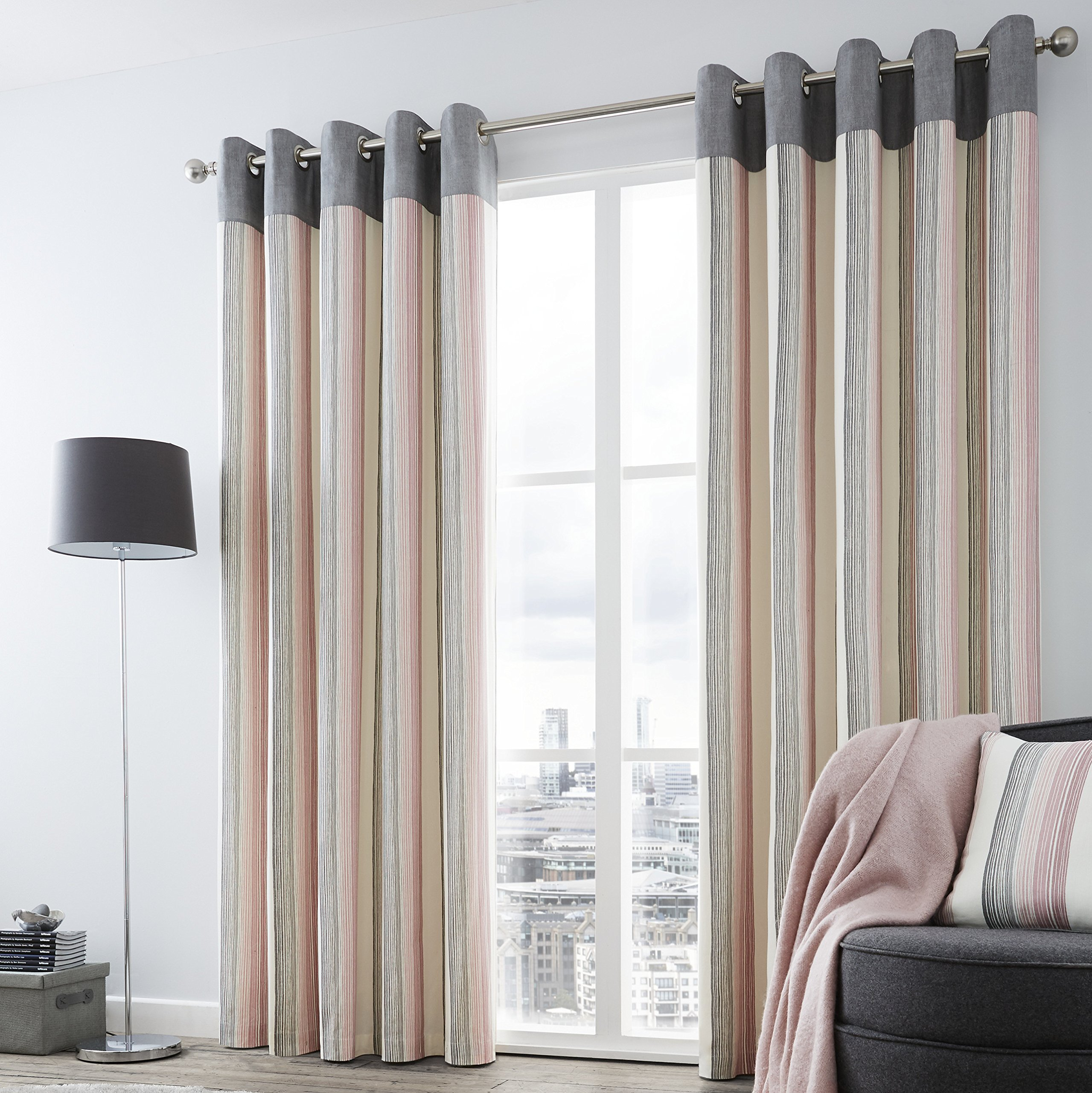Fusion Rydell Stripe 100 Cotton Eyelet Lined Curtains Blush 46 X 90 Inch