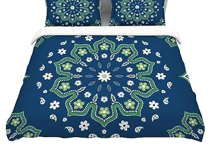 68 X 88 KESS InHouse Cristina Bianco Design Blue /& Green Mandala Blue Geometric Twin Comforter