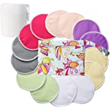 Organic Bamboo Nursing Pads (14 Pack)+Laundry Bag & Travel Bag,2 Sizes:3.9/4.7inch Option - Washable & Reusable Nursing Pads(Small)