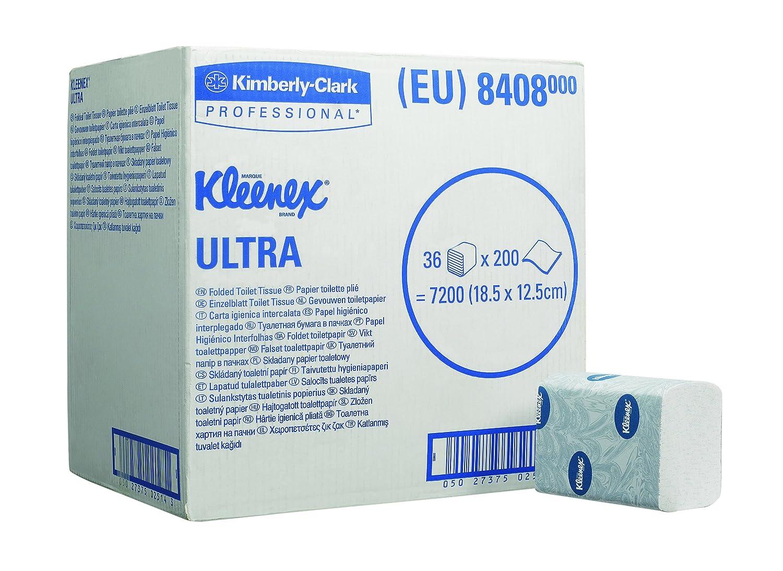 Kleenex 8408 Papel Higiénico Interplegado, 36 Paquetes X 200 Servicios de 2 Capas, Blanco: Amazon.es: Industria, empresas y ciencia