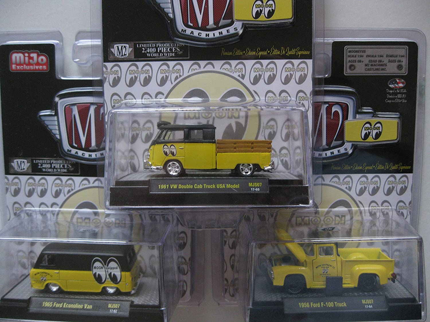 New 164 M2 Machines Collection Mooneye Mijo Vw Ford 1949 Econoline Van Pickup Set Of 3pcs Diecast Model Car By Toys Games
