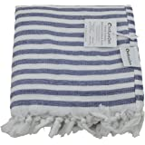 InfuseZen Navy Blue and White Striped Turkish Terry Towel for the Bath, Pool or Spa, Oversized Beach Towel, Oversized Peshtemal Towel, Thin Terry Fouta
