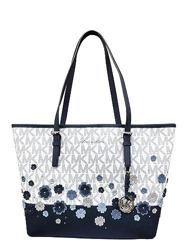 aa7b3d82208e ... new zealand nwt michael kors medium carryall tote navy blue vanilla  white mk floral glitter handbag