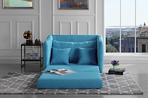 Sofamania Modern Soft Linen Fabric Modular Convertible Sleeper Chair Blue