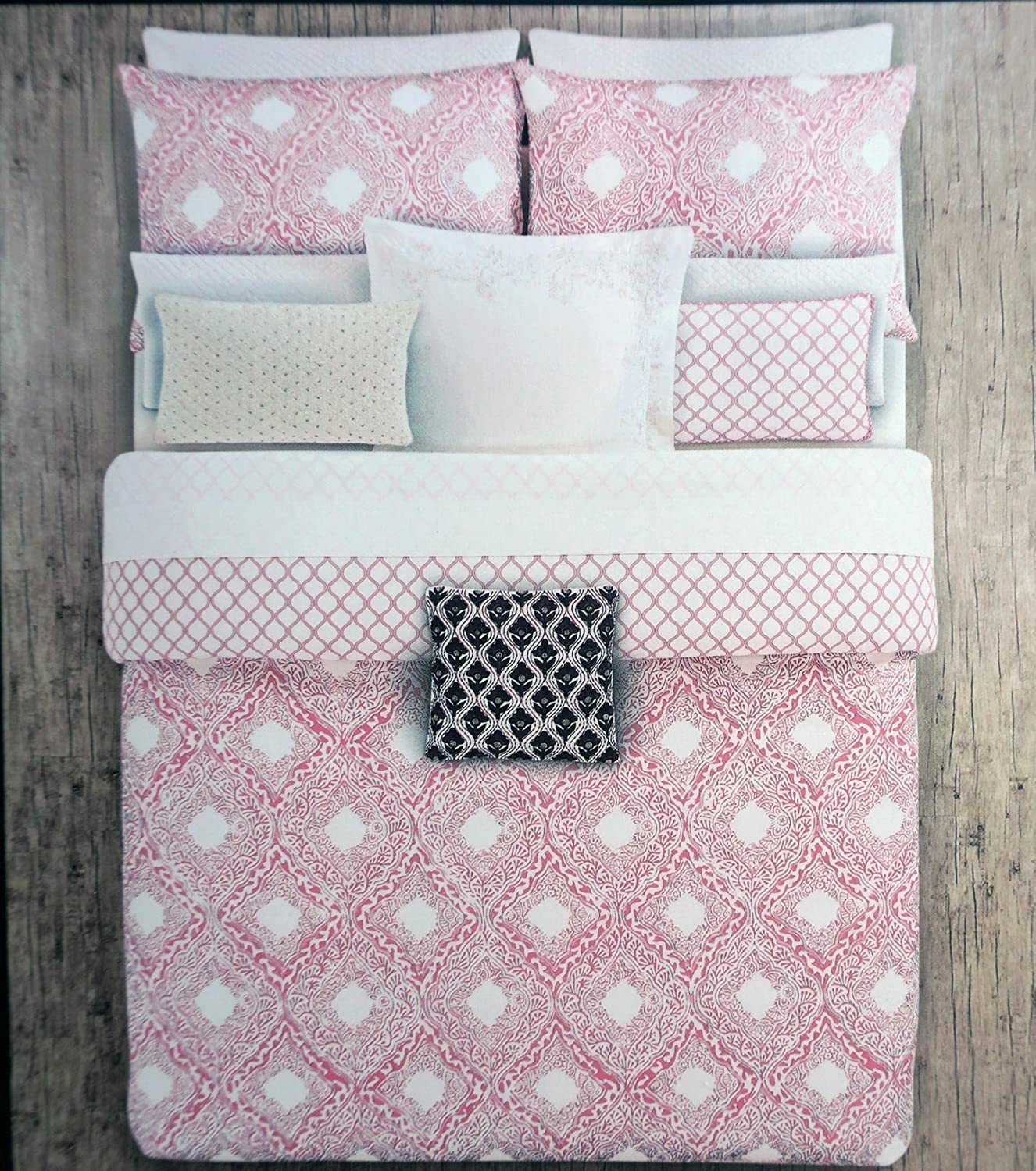 Queen Duvet Cover Set Pink Geometric Medallion Pattern on White Kensie Home 3 Piece Full