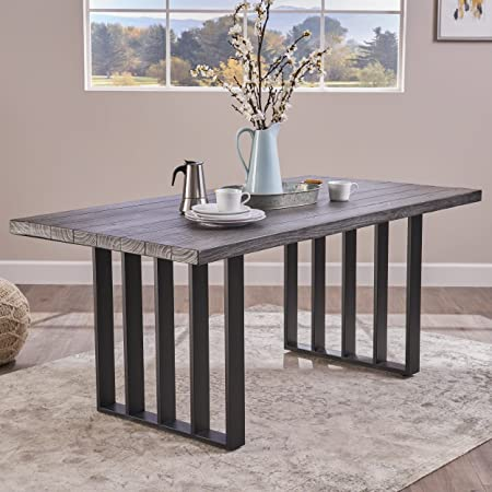 Jasmine Indoor Farmhouse Grey Oak Finish Light Weight Concrete Dining Table