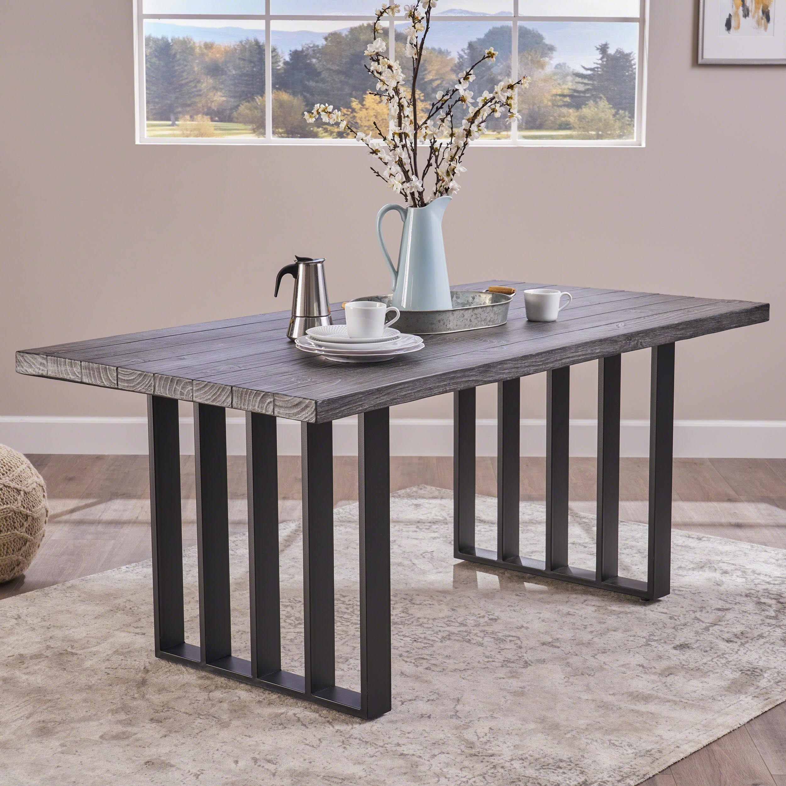 Jasmine indoor farmhouse grey oak finish light weight concrete dining table