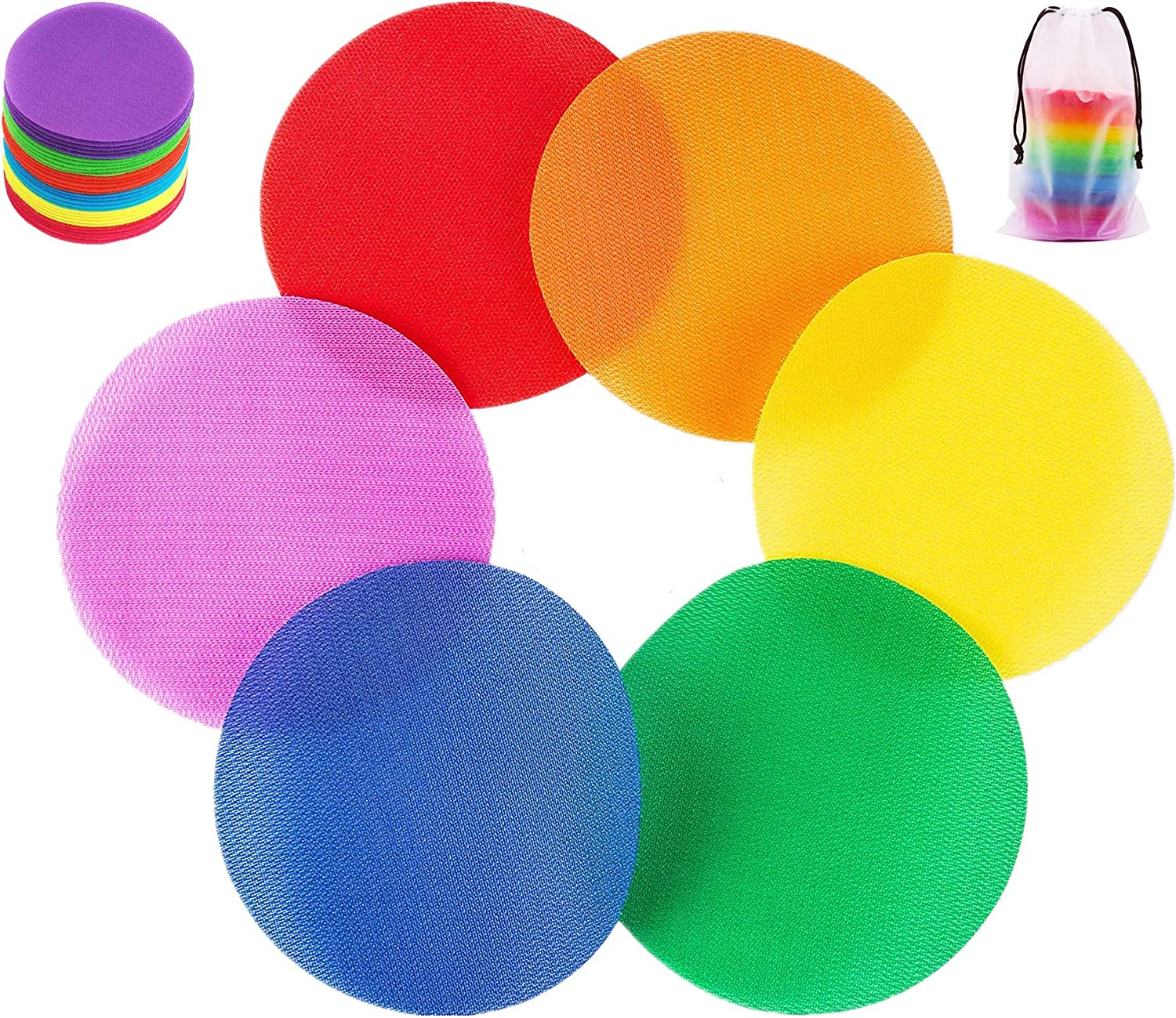 """60Pcs Carpet Markers Sitting Spots,4""""Classroom Sitting Spots, Rug Circles for Teachers, Preschool Kindergarten Kids and Gym, Carpet Squares Dots, Hooks and Loops, 6 Colors"""