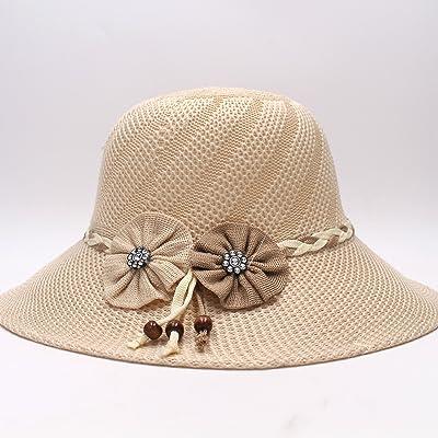 Alger Seau Chapeaux Tricotés Sauvages Monochromes Fleurs Chapeau Tricoté Grand Chapeau De Soleil À Larges Bords, Beige