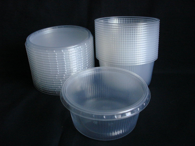 20 piezas 250 ml pequeño redondo desechables de plástico cubo de recipientes con tapa para alimentos.