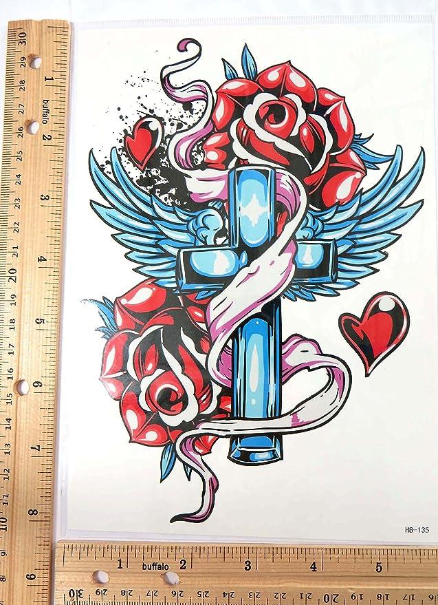Amazoncom Angel Wing Rose Crose 825 Large Temporary Arm Tattoo