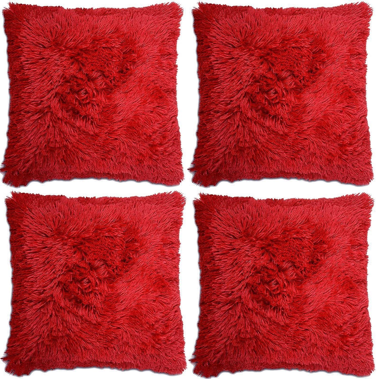 Adore 4 x Long Pile Soft & Cuddly Shaggy 17x17 (43x43cm) Faux Fur Cushion Cover, Chocolate
